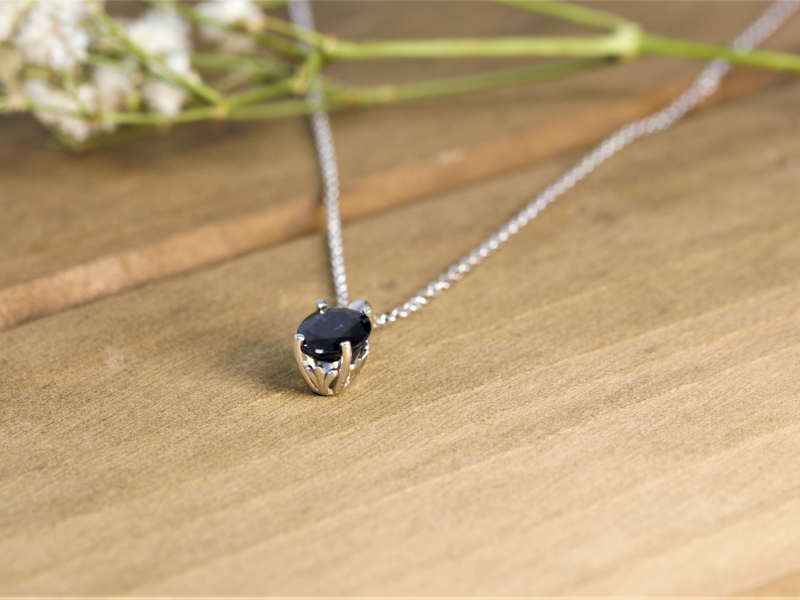 sapphire basket set, 14k white gold, white gold blue sapphire necklace