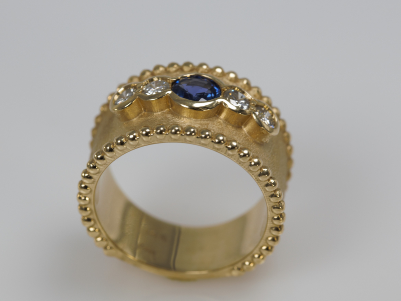 sapphire, diamonds, beaded, 14ky, 14, karat, gold, real gold, ring, jewelry, custom, custom ring, made in florida, made in ta