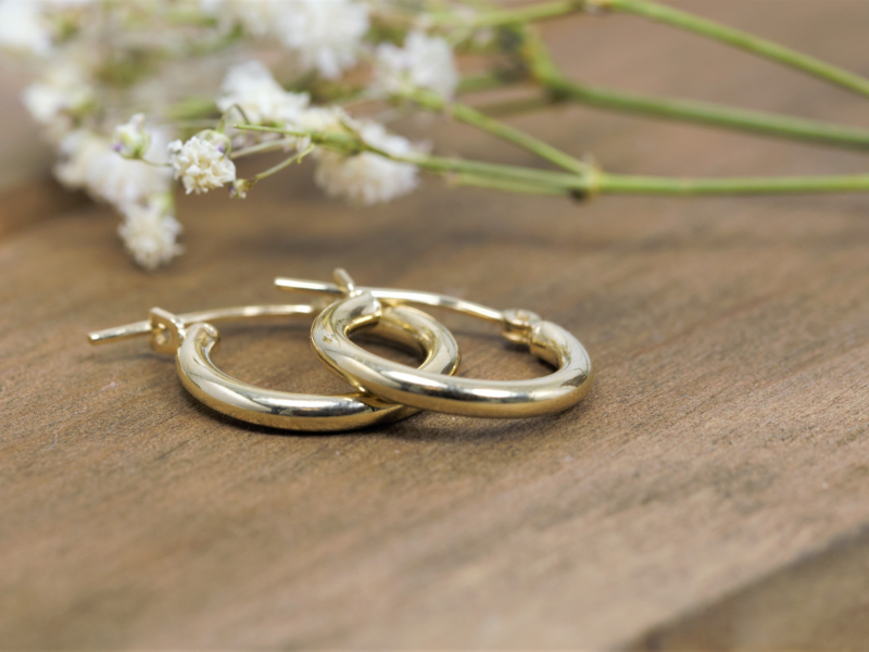 Earrings - Classic Thick Gold Hoop Earrings - image 2