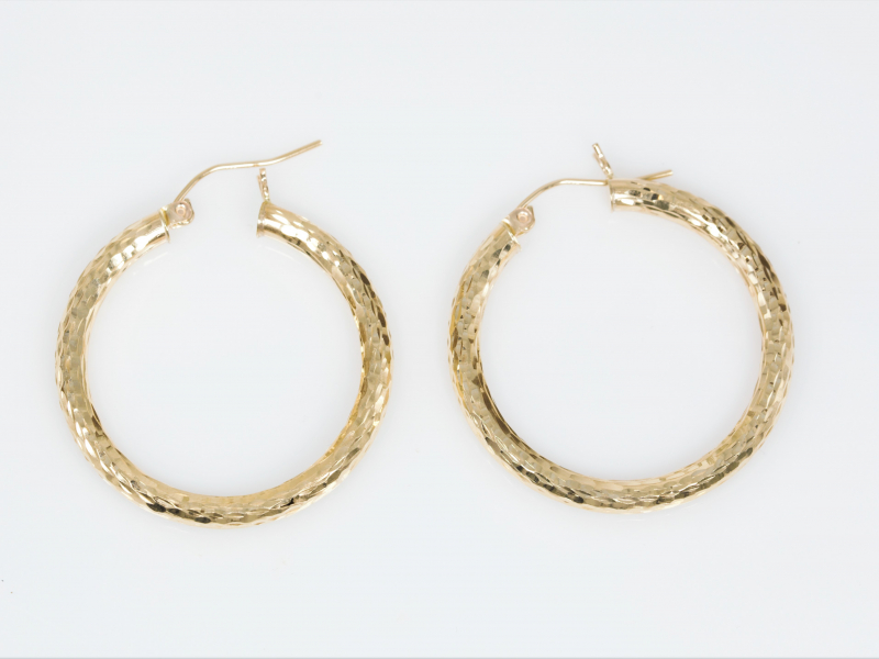 Hammered gold hoop earrings, polished gold hoops, designed gold hoop earrings