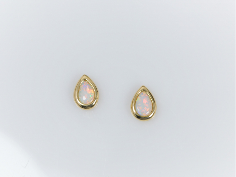Teardrop White Opal Earrings in 14k Yellow Gold -