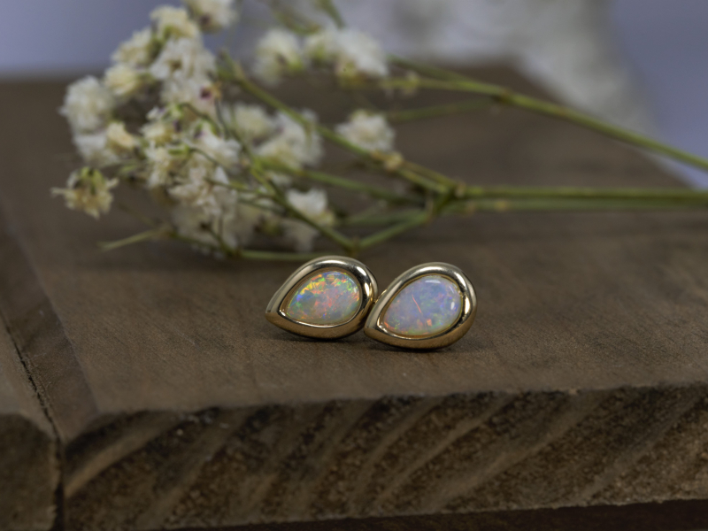 Earrings - Teardrop White Opal Earrings in 14k Yellow Gold - image 3