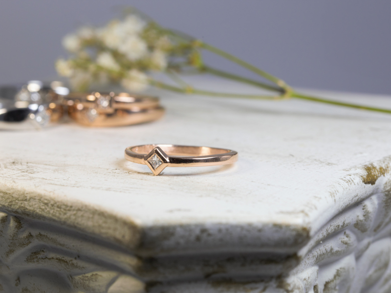rose gold diamond stackable, princess cut promise ring,