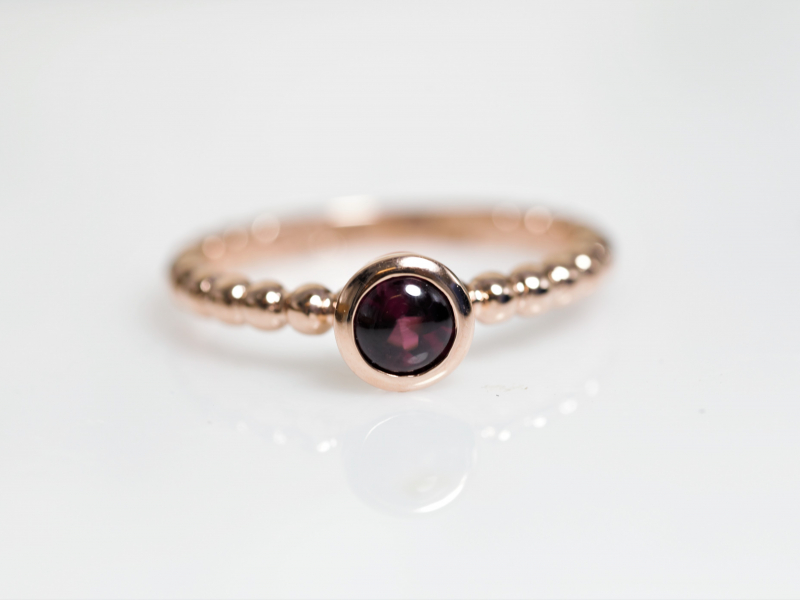 rose gold garnet ring, fsu graduation present ideas, garnet jewelry, custom made - Garnet Beaded Stackable