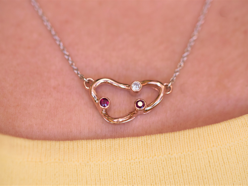 ruby and rose gold necklace, ruby and diamond necklace, unique pendants, one of a kind custom pendant - Ruby and Diamond Neck