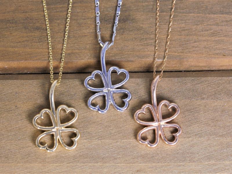 shamrock necklace, gold shamrock pendant, clover pendant, custom