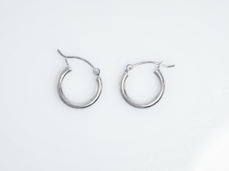 Earrings - White Gold Hoops - image 3