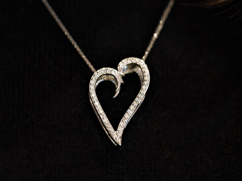 Heart of gold pendant, diamond pendant, diamond necklace, valentines day necklace, i love you jewelry