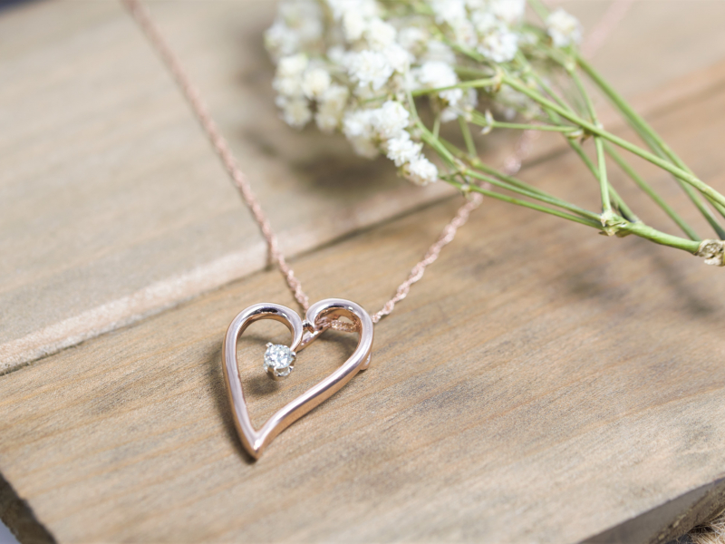 rose gold necklace, diamond rose gold heart, custom heart necklace, with diamond pendant  - Rose Gold Heart Pendant with Diam