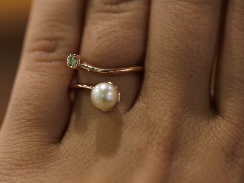 bypass, ring, pearl ring, pearl, diamond, wrap ring