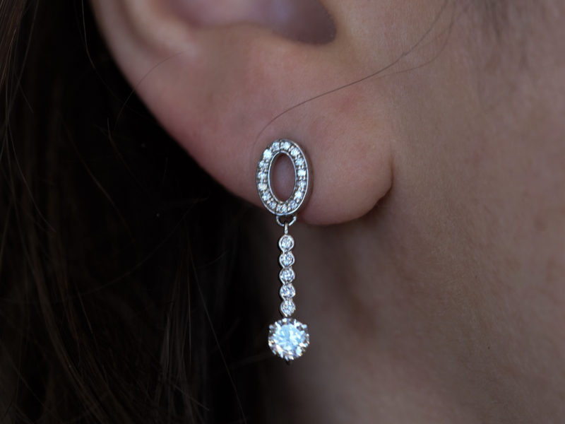 diamond drop earrins, diamond dangle earrings, custom diamond earrings
