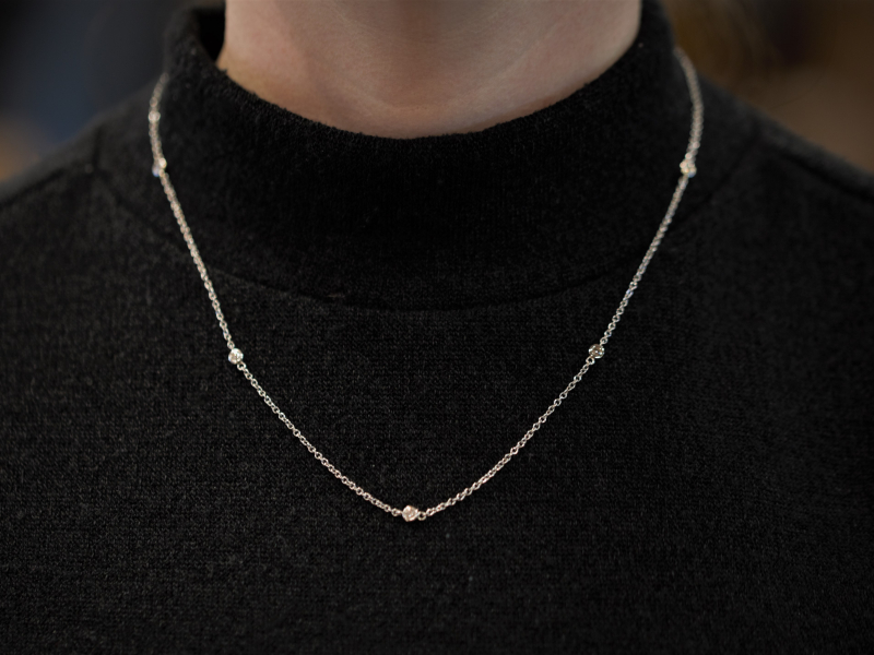 Diamond by the inch necklace, station necklace in 14k white gold,