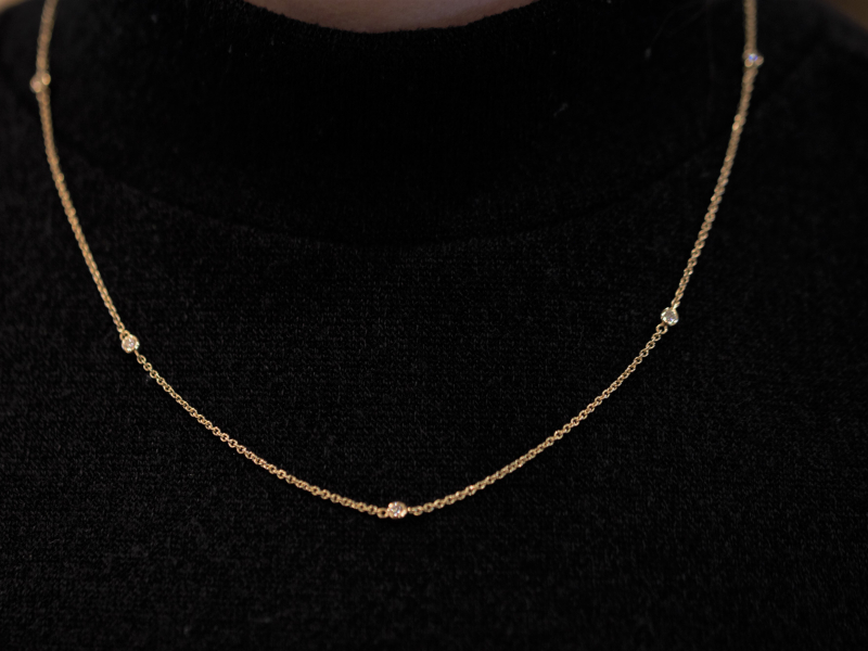 Station Necklace, diamond by the inch necklace, by the inch necklace, diamond station necklace 14k yellow gold