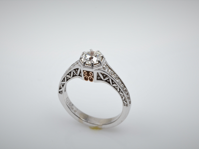 Diamond Engagement Ring in Rose Gold, White Gold, Yellow Gold combinations