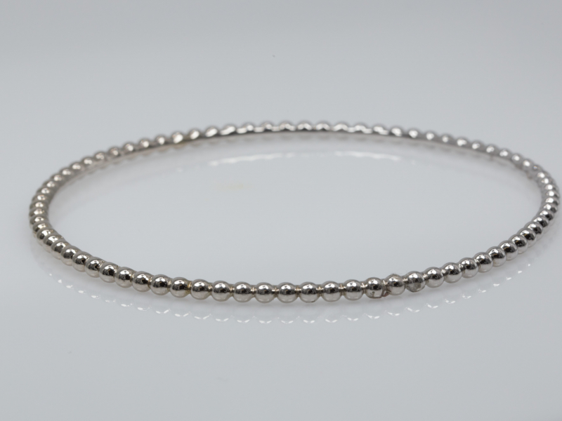 white gold bracelet, solid gold, 14k, bangle  - Beaded Stackable Bracelet in White Gold