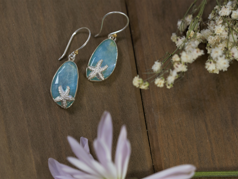 silver beachy earrings, amazonite earrings, blue quartz earrings, michou earrings