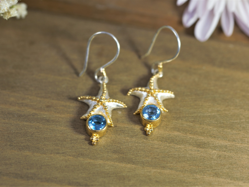 Earrings - Starfish Earrings With Blue Topaz - image 4