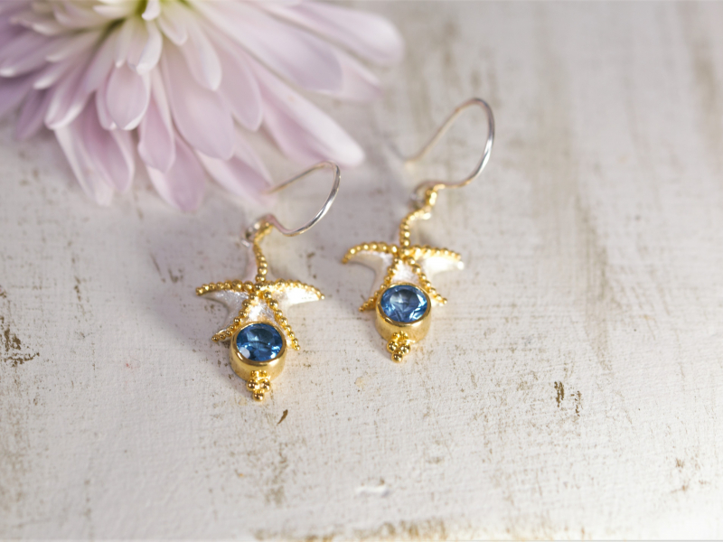 Earrings - Starfish Earrings With Blue Topaz - image 3