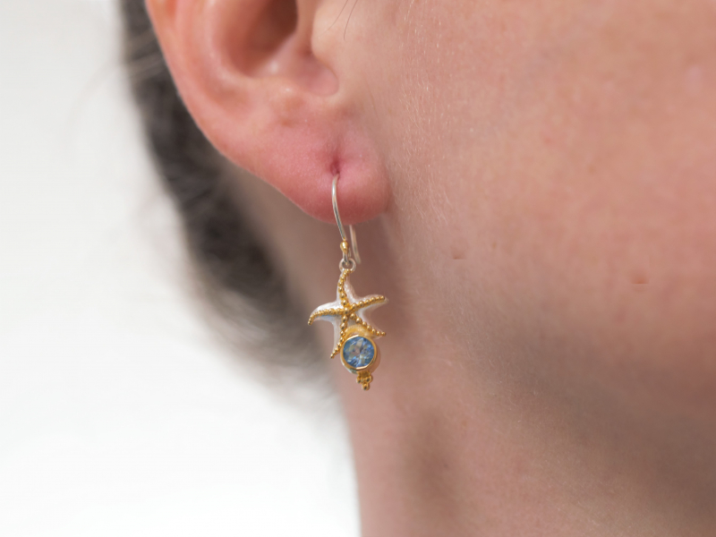 Earrings - Starfish Earrings With Blue Topaz - image 2