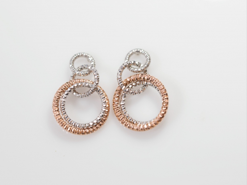 medium circle knotted earrings, knoted circle earrings, two toned earrings, silver and rose gold earrings - Two Toned Silver