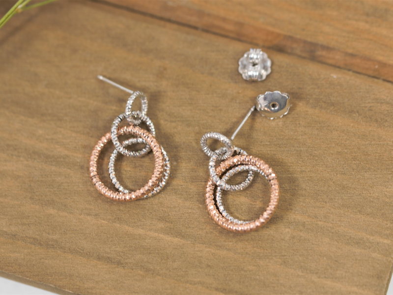 Earrings - Two Toned Silver and Rose Gold Earrings Knotted Medium Circles - image 3