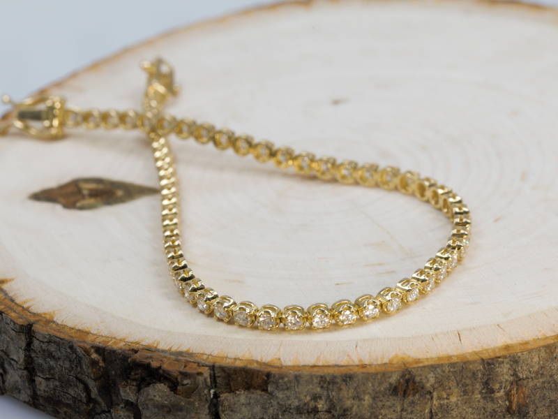 Bracelets - Solid 14k Yellow Gold Diamond Tennis Bracelet - image 2