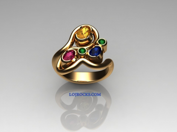 Ring with pink, yellow, blue Sapphires and green diamonds in 18kt yellow gold