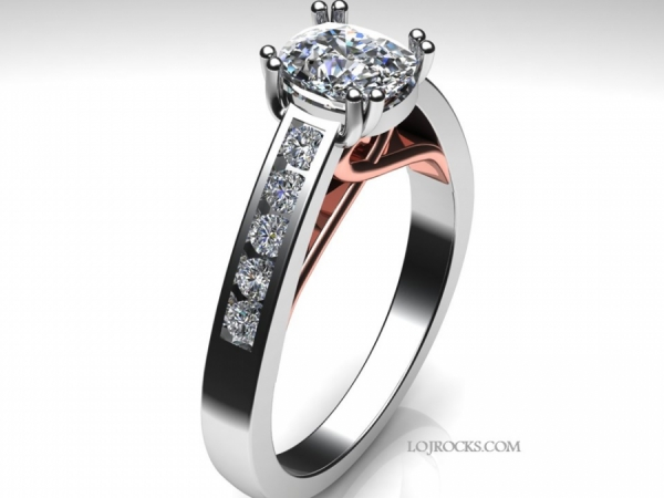 Diamond Engagement Ring 14k White Gold and Rose Gold Heart