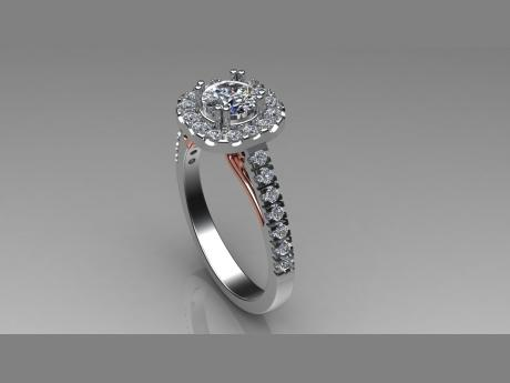 Diamonds, 14kt Rose Gold, and 14kt White Gold Engagement Ring Diamond Engagement Ring in White & Rose Gold