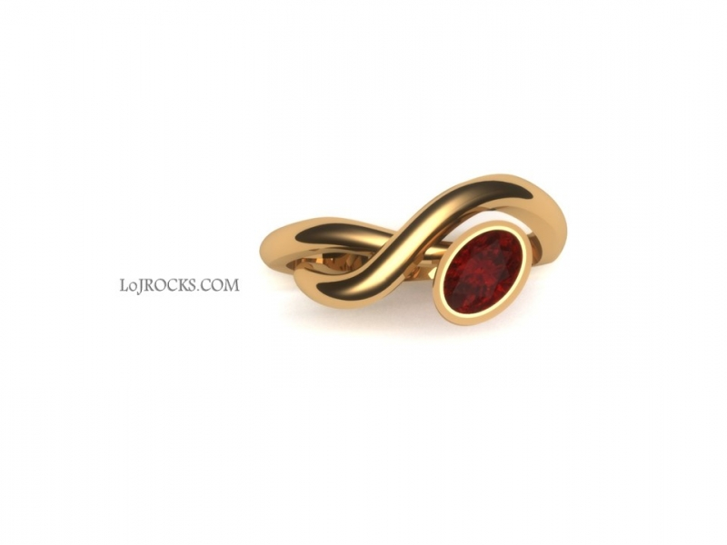 Ruby Ring in the shape of Hugs and Kisses Ruby Ring, Yellow Gold