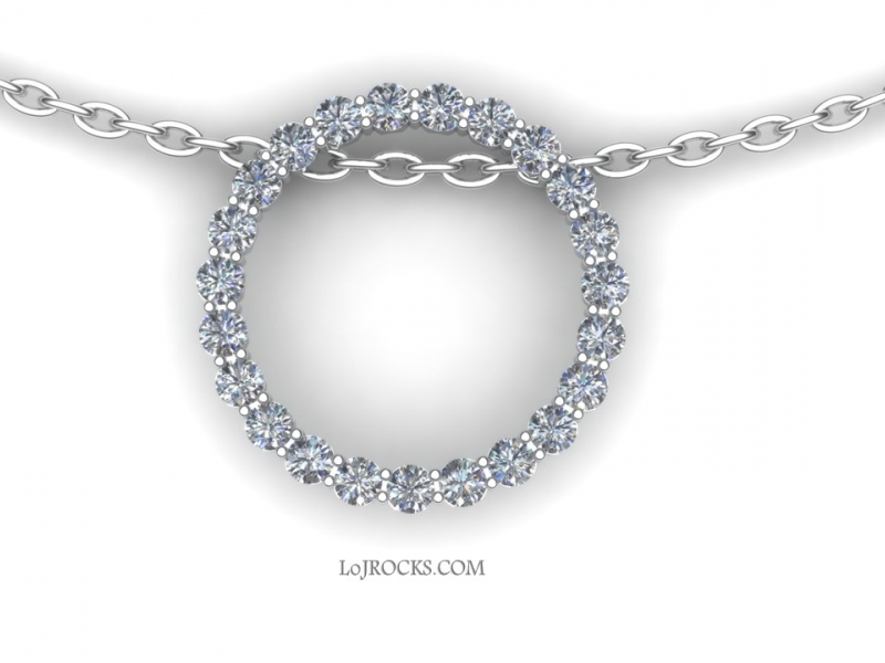 O Pendant with 23 Diamonds set in 14kt White Gold