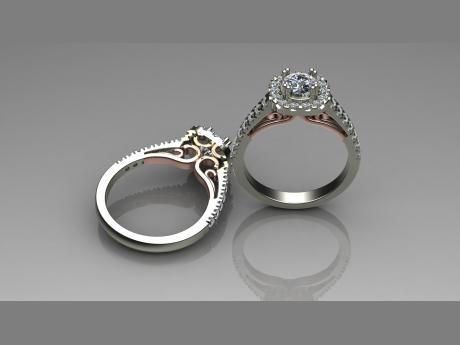 Diamond Engagement Ring in 14kt White & Rose Gold Diamond Engagement Ring in White & Rose Gold