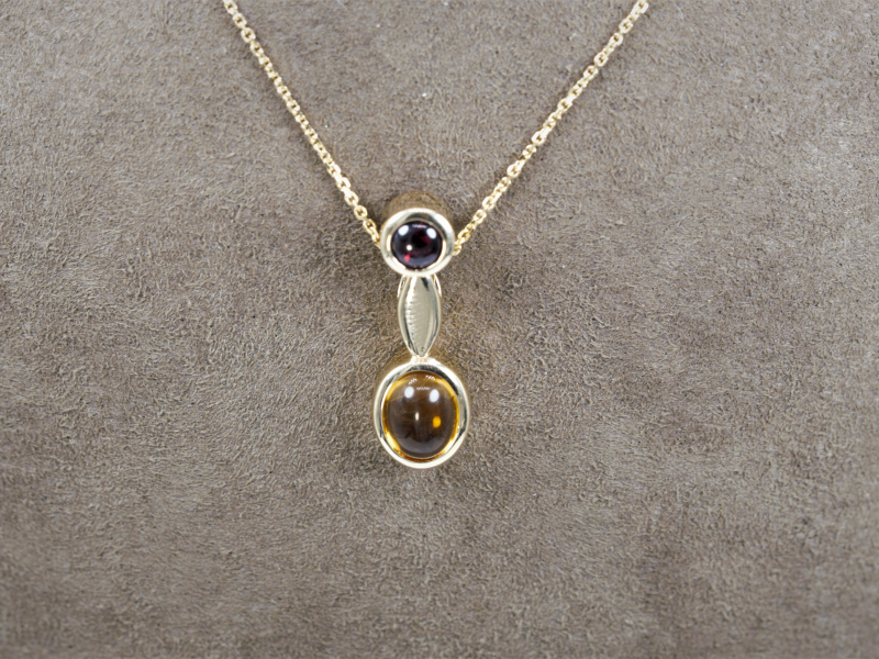 Pendants & Necklaces - 14kt Citrine and Garnet Autum Pendant - image 4