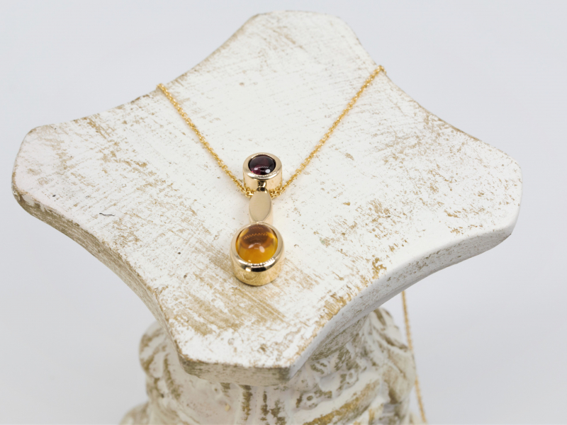 Pendants & Necklaces - 14kt Citrine and Garnet Autum Pendant - image 2
