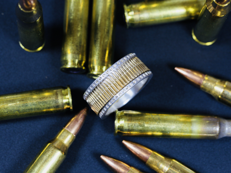Gun Bullet Ring in Fine Silver and 14kt Yellow Gold