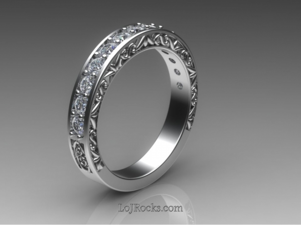 Wedding Ring with Diamonds and Filagree sides in White Gold