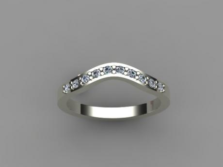 Diamond Wedding Band, Curved, in White Gold