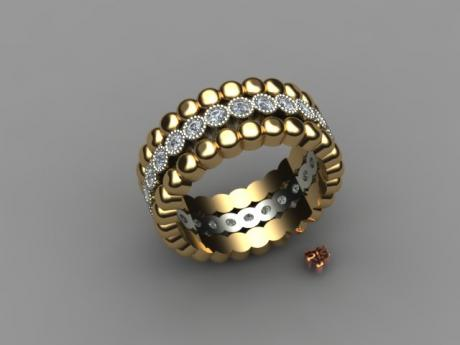 Wedding Ring with Diamonds and Yellow Gold