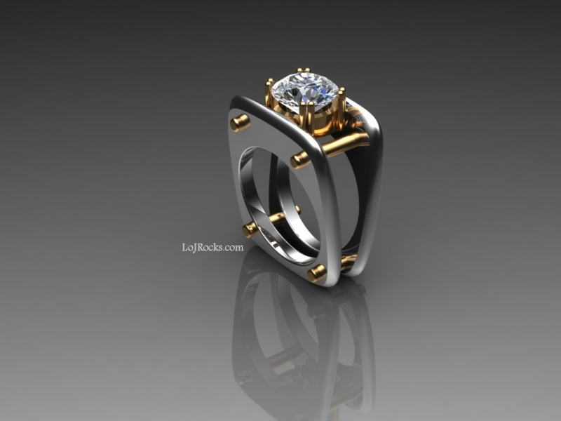 2.99 carat Diamond Ring, modern and edgy design