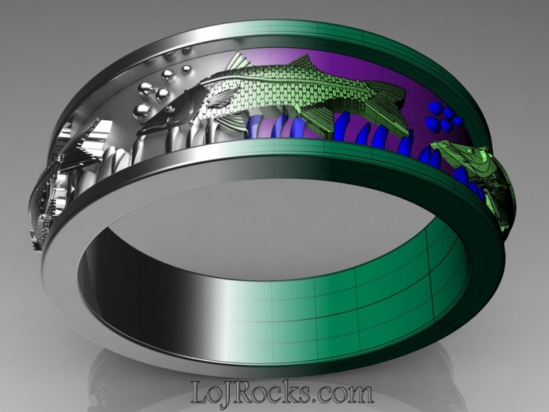Fish Band in white gold