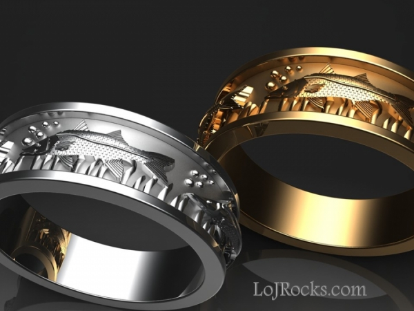 Fish Ring in 14kt yellow or white gold - Fish Ring, Yellow or White Gold