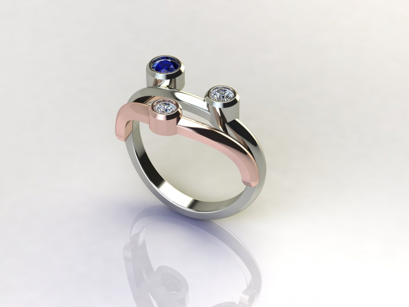 Diamonds, Sapphire, White & Rose Gold Ring