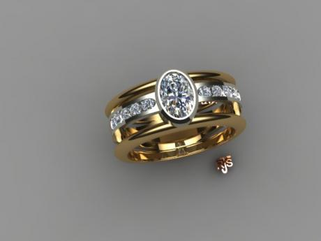 Oval Diamond Ring set in 14kt Yellow and White Gold