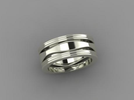 Wedding Band in white gold and ripple design