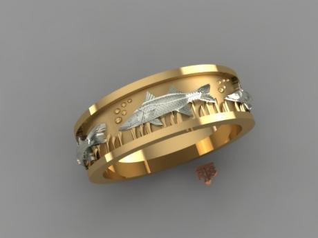 Fish Ring in Yellow and White Gold