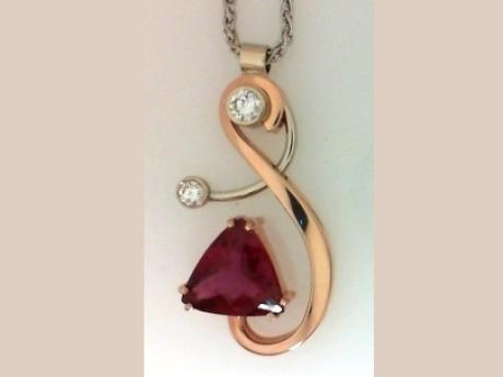 Pendant with Rubellite Gemstone and Diamonds