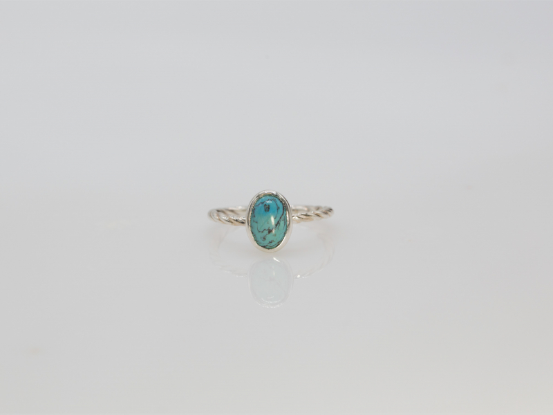 turquoise ring, twisted silver ring, blue turquoise, size 5 turquoise ring - Turquoise Ring on Twisted Silver Band