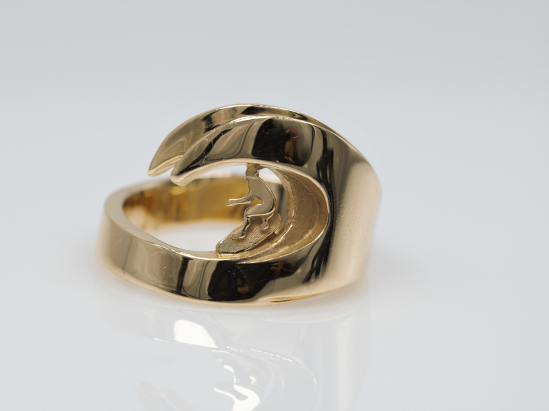 surfer ring, ring for surfers, 14kt gold ring, surfer ring, wave ring, ring with a wave in it, ring with a wave on it, real g