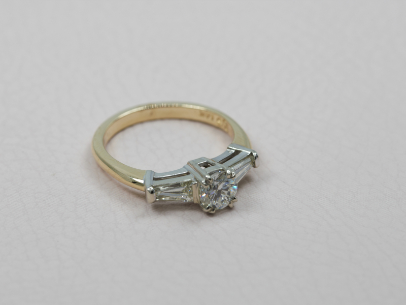 custom wedding rings, engagement rings, two toned engagement rings with baguette diamonds