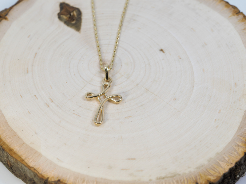twisted cross, yellow gold cross, religious necklace